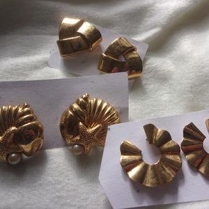 Jewelry - Vintage 80s big Working Girl era earrings lot